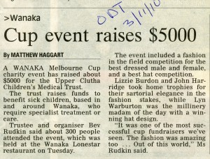 Otago Daily Times story on the success of the Trust's 2010 Melbourne Cup fundraiser