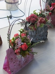 """Floral Bag table decoration from the Trust's """"Old Bag's Lunch"""" fundraiser"""