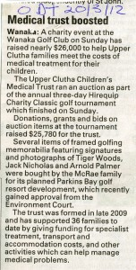 Otago Daily Times story on success of Golf Tournament Fundraiser