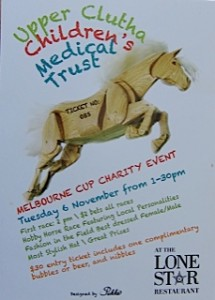 Promotional material for the Trust's 2012 Melbourne Cup Fundraiser held at the Lone Star in Wanaka