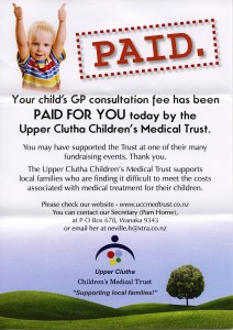 Trust flyer handed to patients who benefit from the Trust paid free Doctor's visits