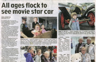 Newspaper story on the contribution to and benefit from the Warbirds and Wheels Chitty Chitty Bang Bang Event